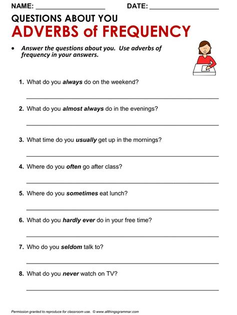 grammar writing practice questions about you