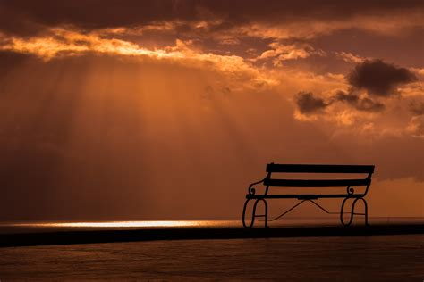 bench sunset dusk clouds hd nature  wallpapers images