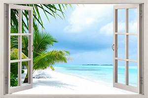 window 3d sea view summer decal wallpaper sun kid beach With beautiful beach decals for walls