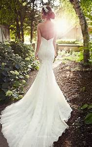 gorgeous lace strapless sweetheart long train mermaid With wedding dress train