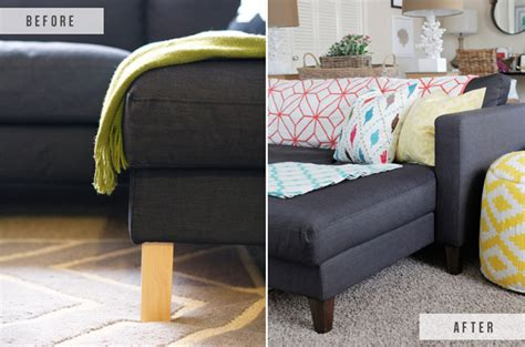 Karlstad Sofa Leg Hack by Ikea Hack Replacing Legs On An Ikea The Blissful Bee