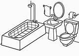 Coloring Bathroom Drawing Printable sketch template