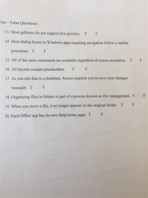 solved true false questions  galleries   supp