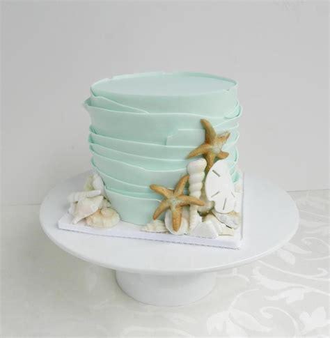 beach theme wedding cake  summer sea neutical
