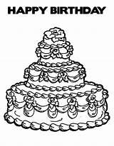 Cake Birthday Coloring Pages Printable Expensive Happy Drawing Getcolorings Netart Getdrawings Print sketch template