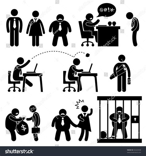 pictogramme bureau business office workplace situation manager stock