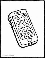 Phone Mobile Colouring Drawing Kiddicolour sketch template