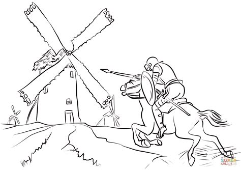 Don Quixote Tilting At Windmills Coloring Page