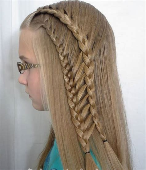 feather loop ladder braid waterfall hairstyles for girls