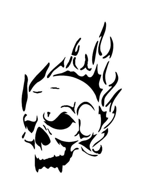 pochoir tatouage temporaire tete de mort flamme  unik