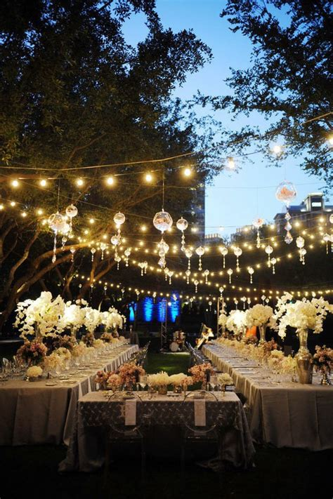 hanging globe lights outdoors outdoor wedding reception decoration ideas weddings by lilly