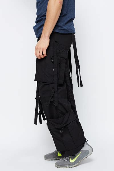 black cargo mens combat style tassel trousers just 5