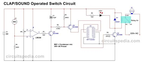 Simple Clap Switch Circuit Diagram Using Relay