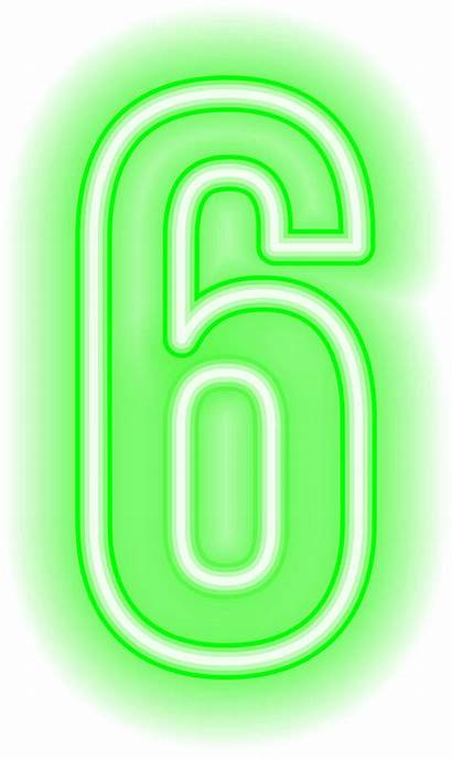 Neon Six Clipart Numbers Transparent Yopriceville