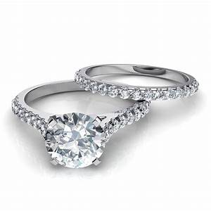 tall cathedral engagement ring wedding band bridal set With bridal wedding ring sets