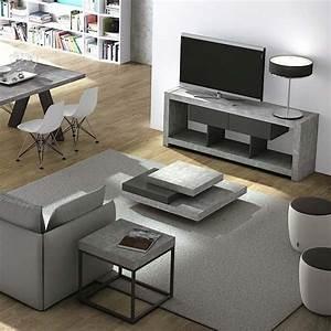Meuble Tv Effet Beton : meuble tv design nara effet gris b ton ~ Teatrodelosmanantiales.com Idées de Décoration