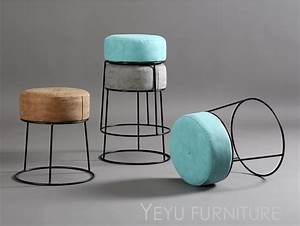 Minimalist, Modern, Design, Stackable, Metal, And, Leather, Soft, Cover, Low, Stool, Ottoman, Shoes, Stool