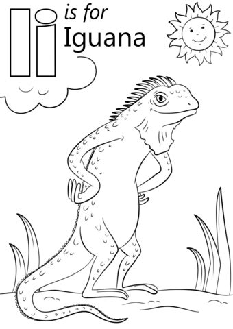 letter    iguana coloring page  printable