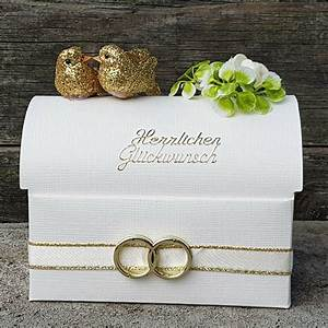 Geldgeschenk Goldene Hochzeit Truhe Herz Eheringe Tauben