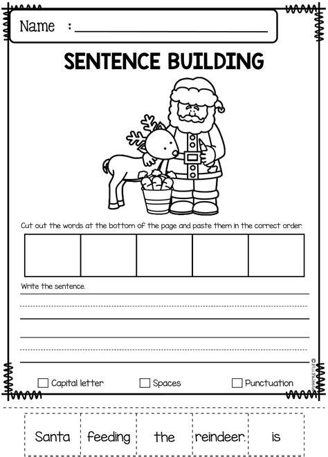 december sentence building kindergarten worksheets