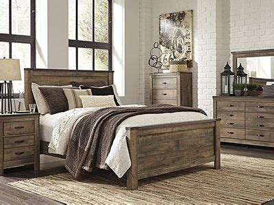 trinell  pc queen bedroom set replicated oak grain