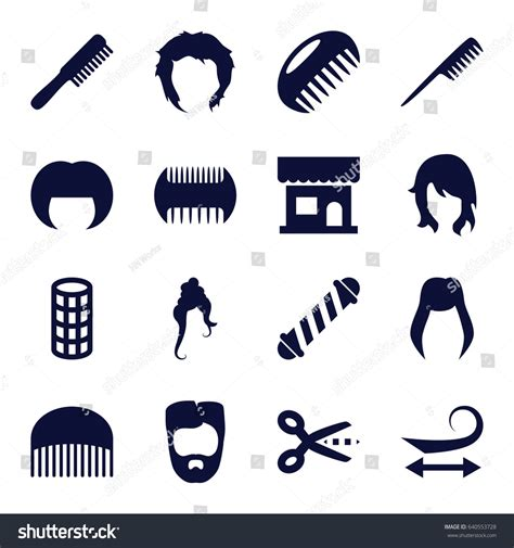 set  haircut filled icons  stock vector