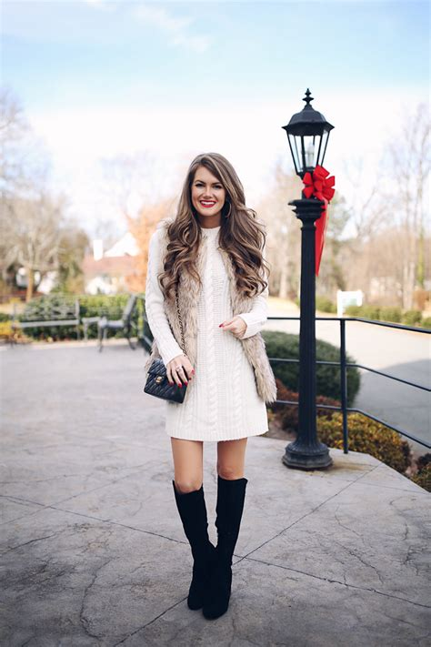 Faux Fur Vest Cable Knit Dress Southern Curls And Pearls