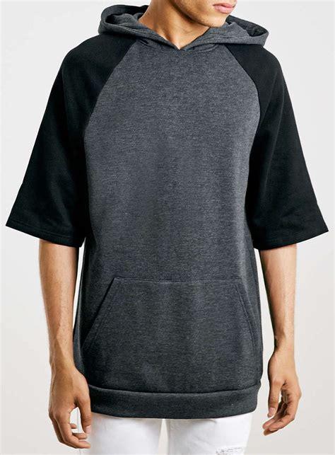 High Quality Custom Black Raglan Short Sleeve Hoodie