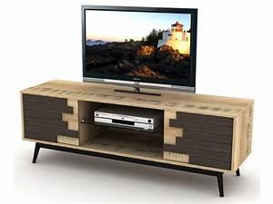 Meuble De Télé Conforama : meuble tv 140 cm ethnica coloris gris noir pieds en m tal vente de meuble tv conforama ~ Teatrodelosmanantiales.com Idées de Décoration