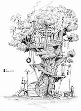Tree Drawing Drawings Pencil Treehouse Fantasy Dessin Houses Coloring Fairy Sketches Deviantart Trees Draw Sketch Colouring Adult Maison Dream Crayon sketch template