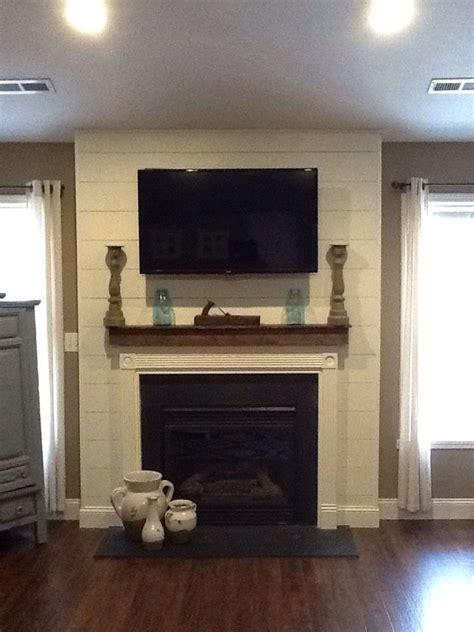 finally finishing  living room  floors  shiplap fireplace surround shiplap