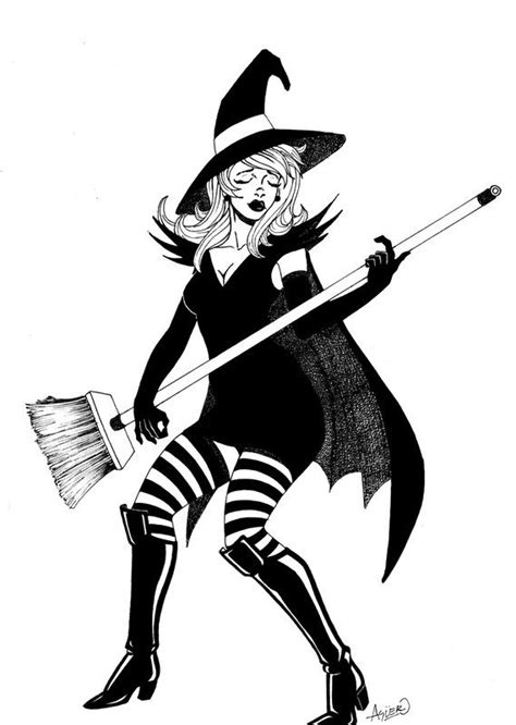sorcieres rock star witch drawing witch vintage witch