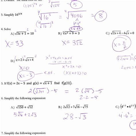 solving quadratic equations worksheet answers algebra 2