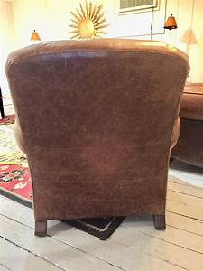 Pair of Manly Distressed Leather Club Chairs by Century at ...