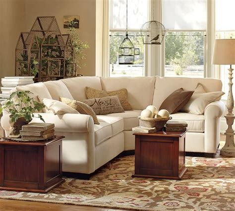 pottery barn sectional buchanan roll arm upholstered curved 3 sectional