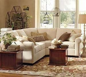 buchanan roll arm upholstered curved 3 piece sectional With buchanan couch pottery barn