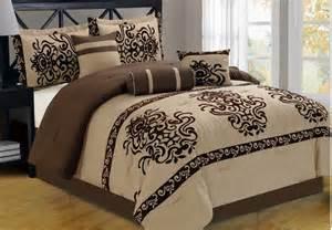 21 pc brown flocking comforter curtain sheet set king size new ebay