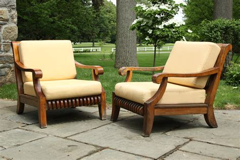 pair smith and hawken teak chairs black rock galleries