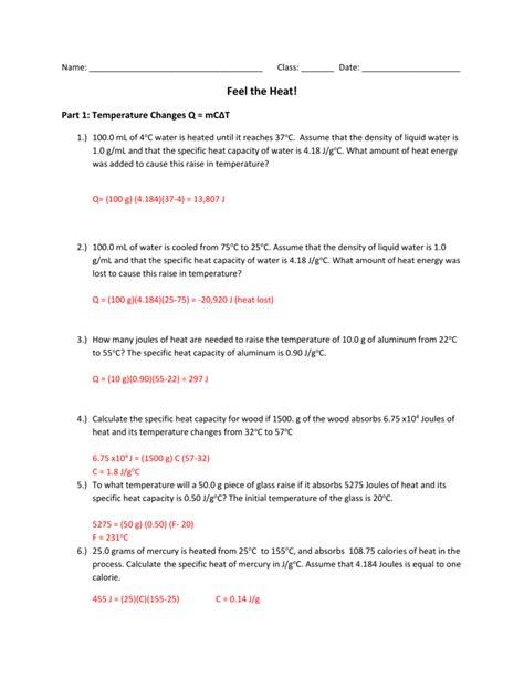 calculating heat answer key
