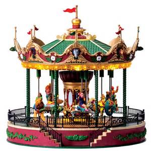 lemax village collection carnival village elegant equestrian carousel with 4 5v adaptor