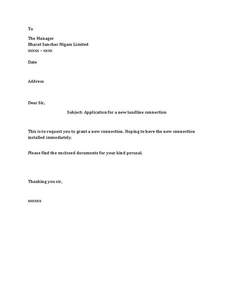 phone connection request letter