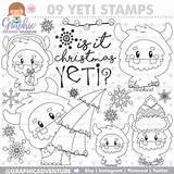 Yeti Coloring Stamps Christmas Winter Commercial Stamp Digital Monster Digi Cards Craft Kleurplaten Crafts Visit Frame Verkauft Produkt sketch template