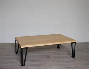 Pied De Table Metal Industriel : table basse ch ne massif pieds metal style hairpin legs ~ Dailycaller-alerts.com Idées de Décoration
