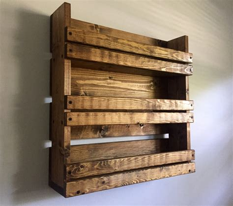 Wood Wall Spice Rack by Spice Rack Rustic Spice Rack With 3 Shelves By Blackironworks