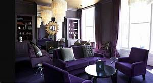 Purple themed living room with round table ideas home for Purple living room designs