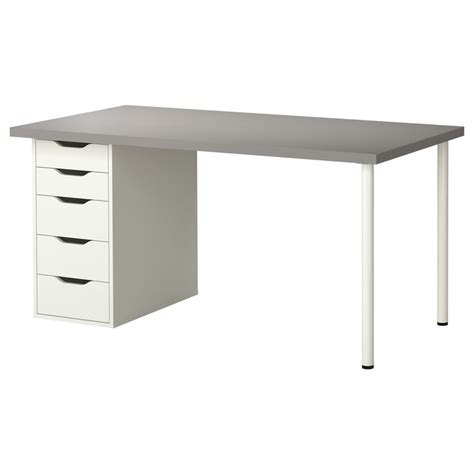 linnmon alex table gris blanc ikea bureau