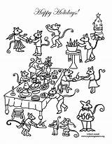 Coloring Feast Mouse Party Holiday sketch template