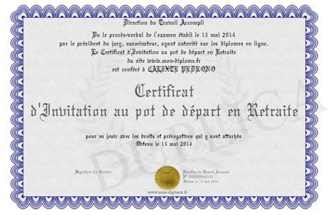 certificat d invitation au pot de depart en retraite
