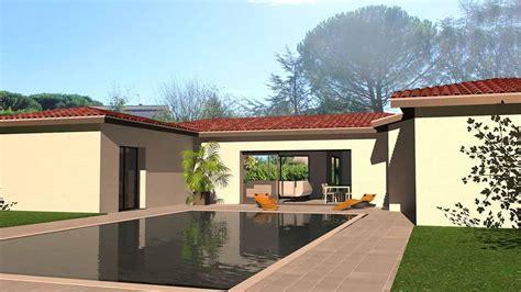 plan de maison 5 chambres plain pied maison d architecte contemporaine en u dedans dehors