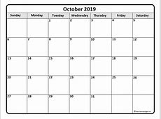 October 2019 calendar 56+ templates of 2019 printable